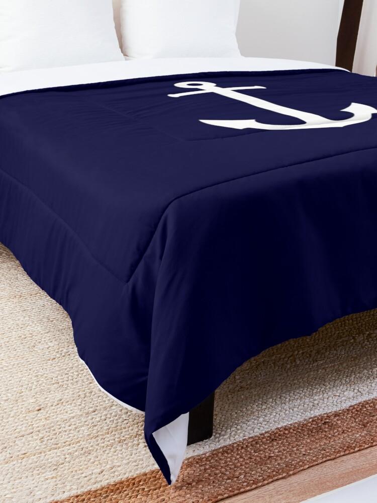 Alternate view of White Anchor On Navy Blue Comforter