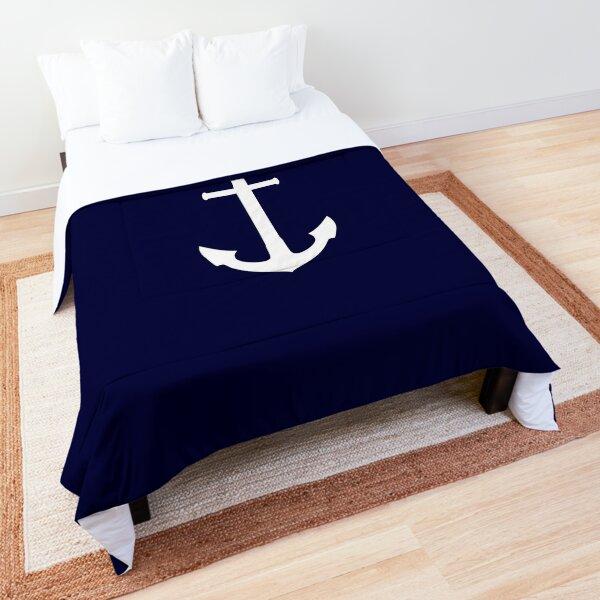 White Anchor On Navy Blue Comforter