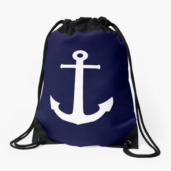 White Anchor On Navy Blue Drawstring Bag