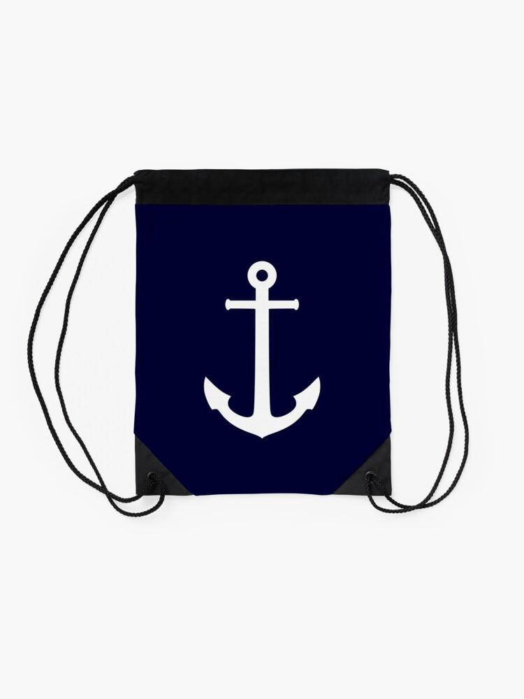 Alternate view of White Anchor On Navy Blue Drawstring Bag