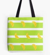 Citrus Slices - Green Stripes Tote Bag