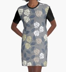 Beautiful seamless pattern with cute roses and leaves Graphic T-Shirt Dress