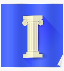 Single Greek Column Isolated on Blue Background. Long Shadow Poster