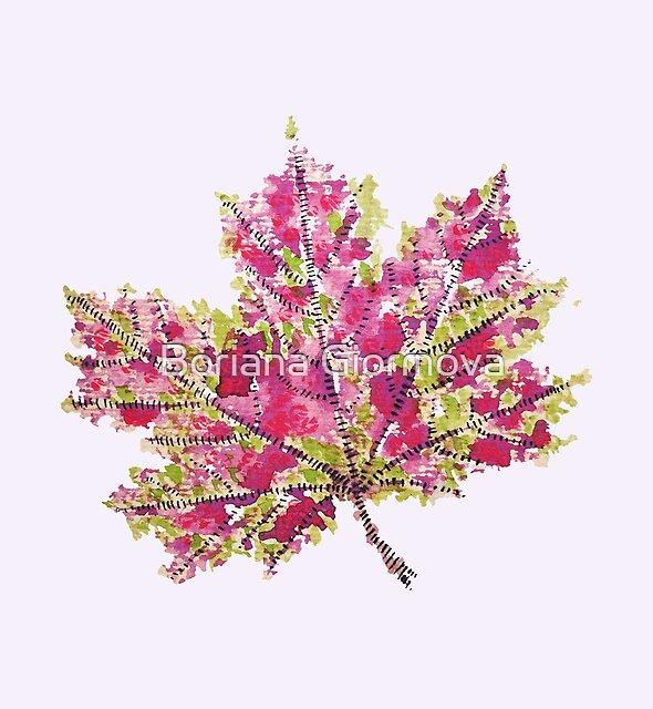Colorful Watercolor Autumn Leaf by Boriana Giormova
