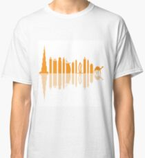 Vector illustration of United Arab Emirates skyscrapers silhouette and camel. Dubai buildings and symbols. Classic T-Shirt