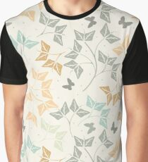 Seamless pattern with cute butterflies and leaves Graphic T-Shirt
