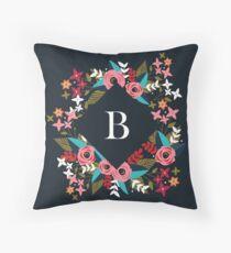 Floral Blue Monogram B Throw Pillow