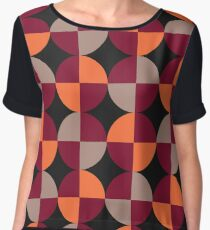 WineRed Squares Women's Chiffon Top