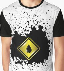 Yellow Oil Icon on Oil Blot. Oil Splash Isolated on White Background Graphic T-Shirt
