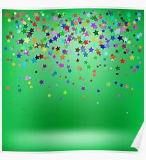 Set of Colorful Stars on Green Background. Starry Pattern Poster