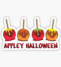 Funny Pun Appley Halloween Sticker