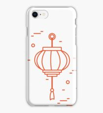 New year symbols: japanese treasure ship, bamboo, chinese lanterns and red envelopes of money arranged in a circle. iPhone Case/Skin