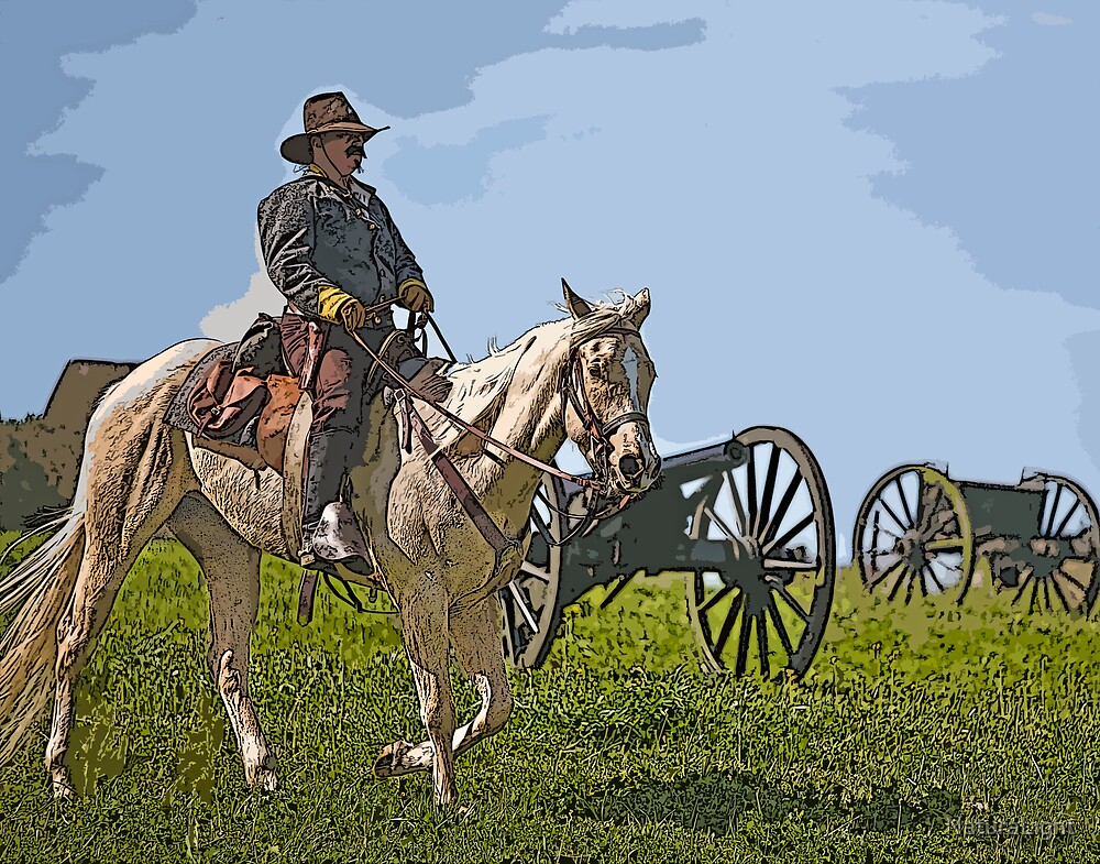 Stylized Civil War Officer On Horseback On Battlefield with Cannon by NaturaLight