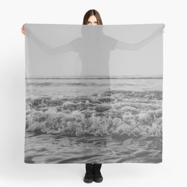 Black and White Pacific Ocean Waves Scarf