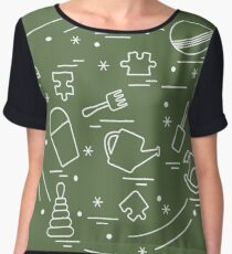 Vector illustration kids elements arranged in a circle: whirligig, ball, puzzle, rocking horse,  bucket, pyramid and other. Women's Chiffon Top