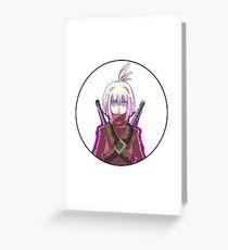 Manga warrior Girl Chibi  Greeting Card