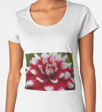 Macro photo of a red and white Dahlia Women's Premium T-Shirt