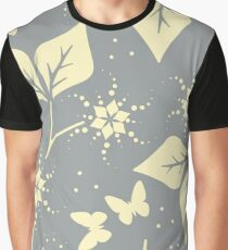 Beautiful seamless pattern yellow leaves,  flowers and butterflies Graphic T-Shirt