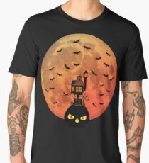 Haunted House with Blood Moon Men's Premium T-Shirt