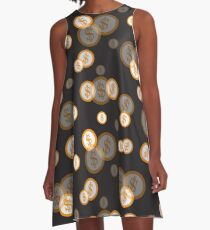 Seamless pattern with dollar coins. Business and finance theme. A-Line Dress