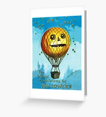 Carved pumpkin as hot air balloon fly in the sky, Halloween greeting Greeting Card