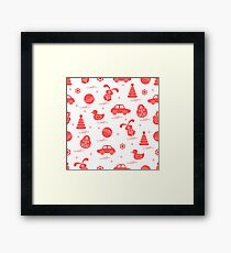 Vector pattern of different toys: car, pyramid, roly-poly, ball, hare, rattle, duck, penguin. Framed Print