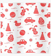 Vector pattern of different toys: car, pyramid, roly-poly, ball, hare, rattle, duck, penguin. Poster