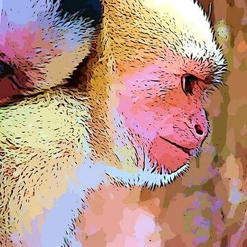 Mother Monkey with Baby Graphic Design-Wildlife Prints by DeepDenn