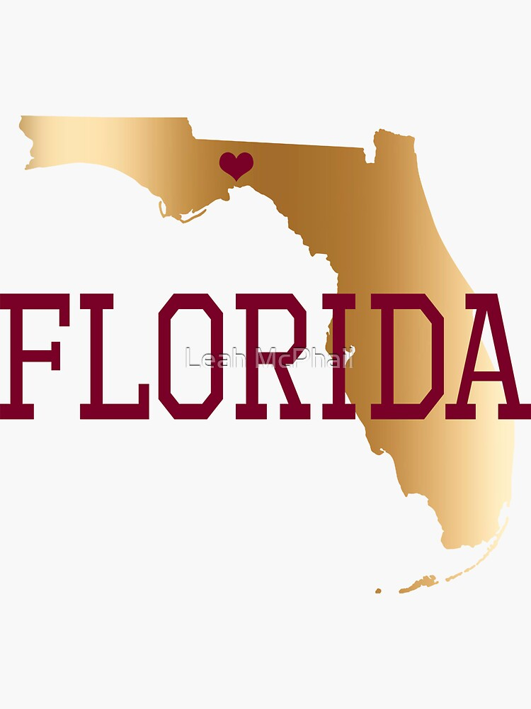 Florida Gold And Garnet With State Capital Typography by LeahMcPhail