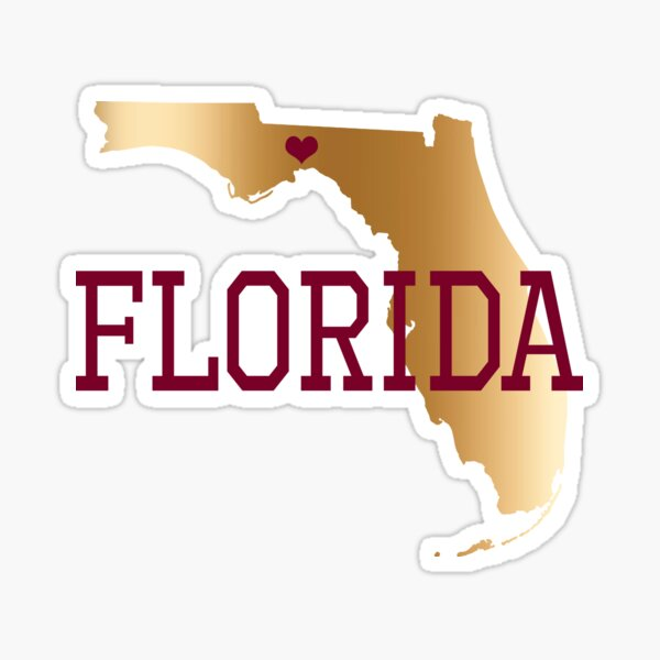 Florida Gold And Garnet With State Capital Typography Sticker