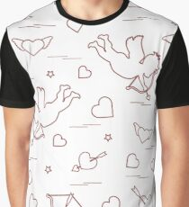Cute seamless pattern with cupid shoots a bow and hearts. Love symbol. Graphic T-Shirt