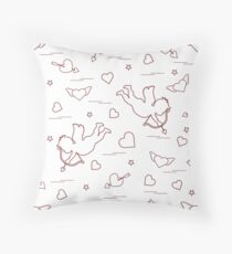 Cute seamless pattern with cupid shoots a bow and hearts. Love symbol. Throw Pillow