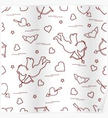 Cute seamless pattern with cupid shoots a bow and hearts. Love symbol. Poster