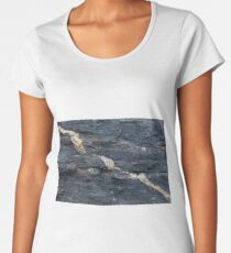 Calcite veins in tectonized black clay shales Women's Premium T-Shirt