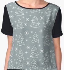 Winter seamless pattern with Christmas tree in origami form and snowflakes. Women's Chiffon Top