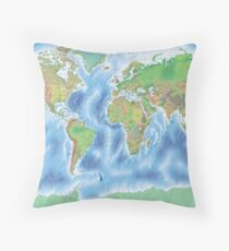 Physical world map in green and blue Throw Pillow