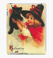 Little girl with her cute black cat, vintage Halloween card iPad Case/Skin