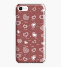 Cute seamless pattern with hearts in cell. iPhone Case/Skin