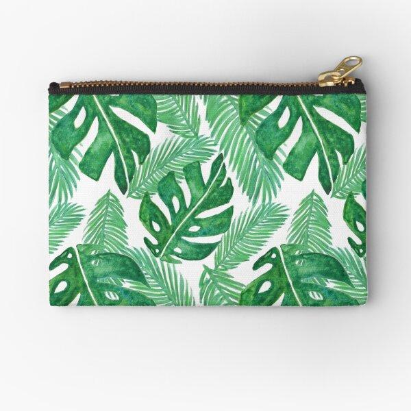 Tropical Leaf Pattern Monstera Deliciosa Zipper Pouch