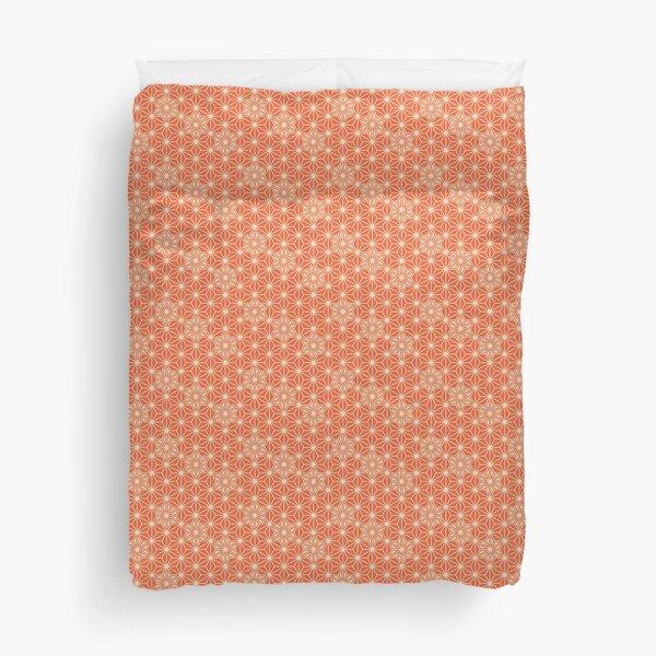 Japanese Asanoha pattern - coral orange Duvet Cover