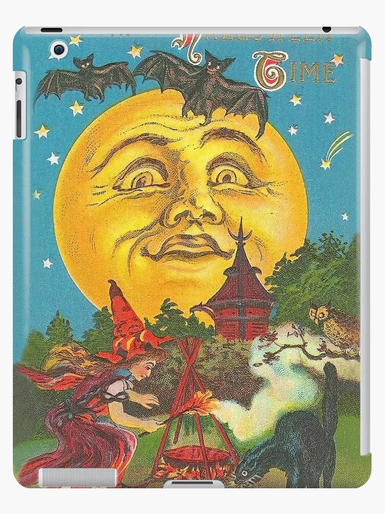 \u0027Halloween, witch crafting at the full moon, vintage greeting\u0027 iPad  Case/Skin by AmorOmniaVincit