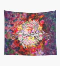 Serendipity - Boho Hippie Style Colorful Floral Inspirational Design Wall Tapestry