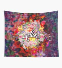 Relax - Cool Inspirational Girly Floral Yoga Typography Wall Tapestry