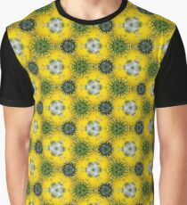 Yellow and Green Unique Flower Photo Bold Bright Pattern Print Graphic T-Shirt