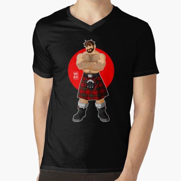 ADAM LIKES KILTS - SHIRTLESS V-Neck T-Shirt