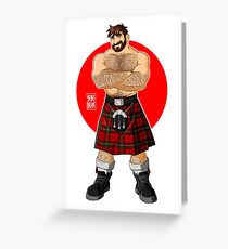 ADAM LIKES KILTS - SHIRTLESS Greeting Card