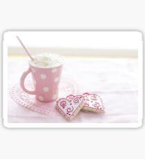 Valentine's Heart Love Cookies Hot Chocolate Sticker