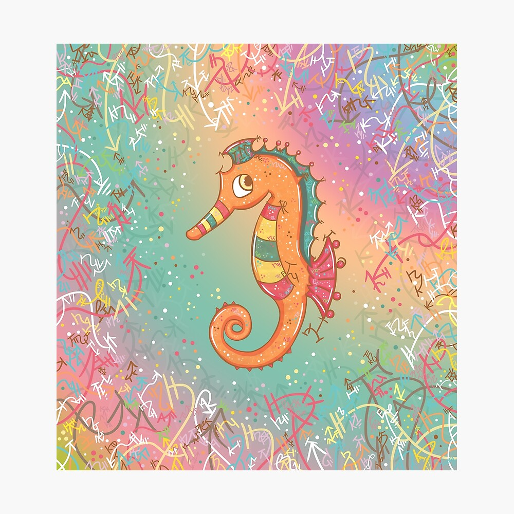 Sparkly Little Seahorse Photographic Print