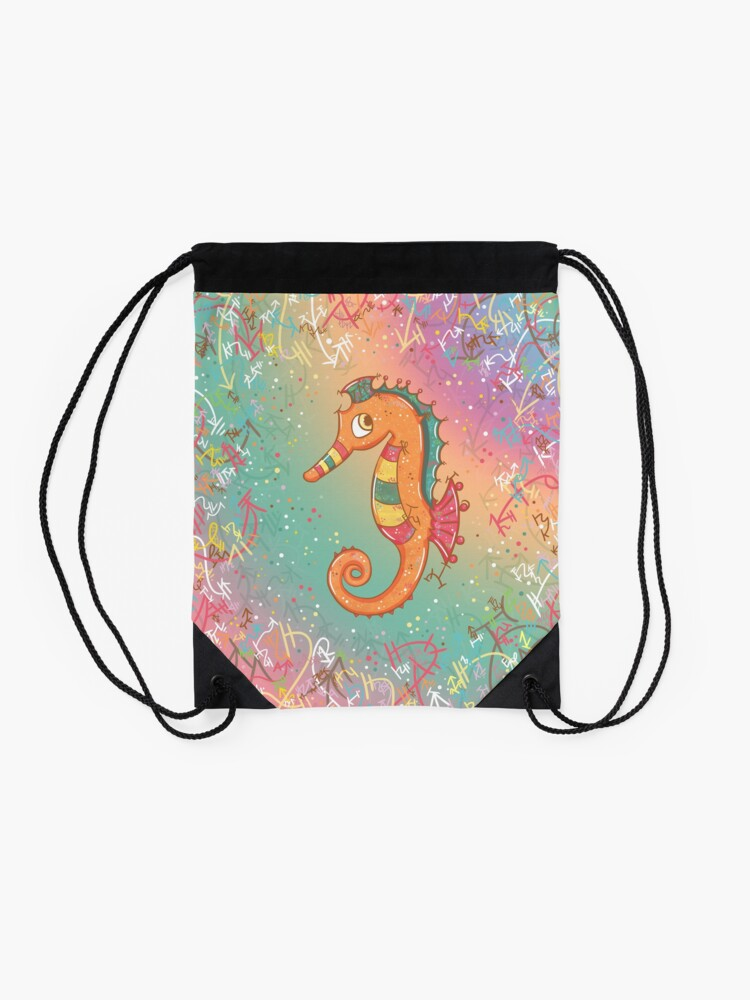 Alternate view of Sparkly Little Seahorse Drawstring Bag
