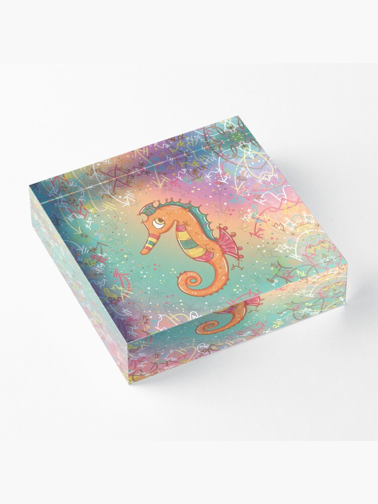 Alternate view of Sparkly Little Seahorse Acrylic Block